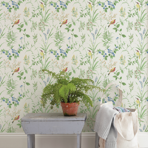 3117-24173 Brewster Wallcovering Chesapeake The Vineyard Imperial Garden Botanical Wallpaper Room Setting