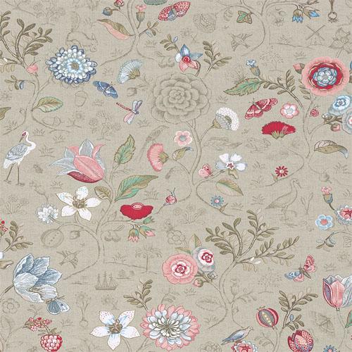375001 Brewster Wallcovering Eijffinger Pip Studio Espen Floral Wallpaper Khaki