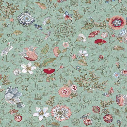 375002 Brewster Wallcovering Eijffinger Pip Studio Espen Floral Wallpaper Turquoise