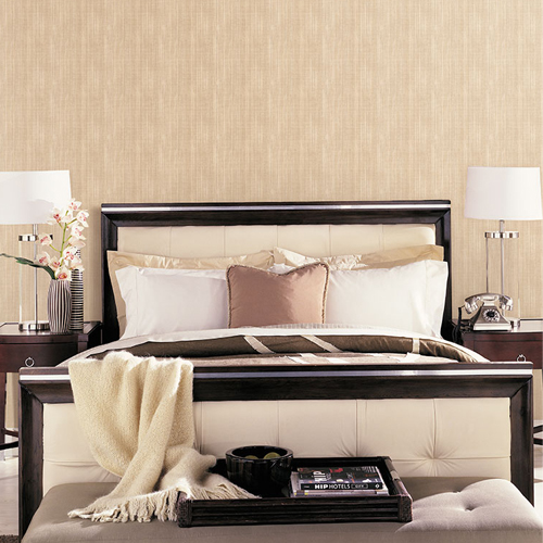 Patton Wallcovering Wall Finishes Rough Linen Wallpaper Room Setting