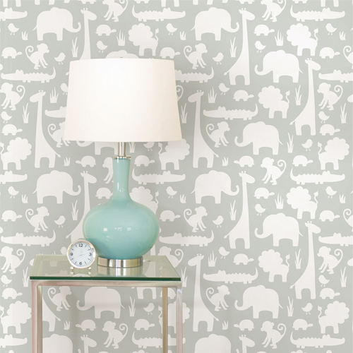NUW1393 Brewster Wallcovering Wallpops NUWallpaper Grey Its A Jungle In Here Peel And Stick Wallpaper Room