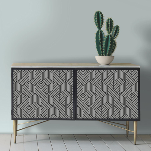 RMK1076WP York Wallcovering RoomMates Striped Hexagon Peel and Stick Wallpaper Furniture Accent