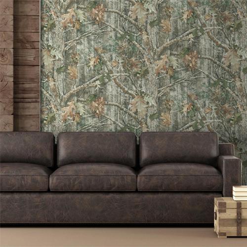 RMK11081WP Kanati Camo Peel and Stick Wallpaper Cabin Room Setting