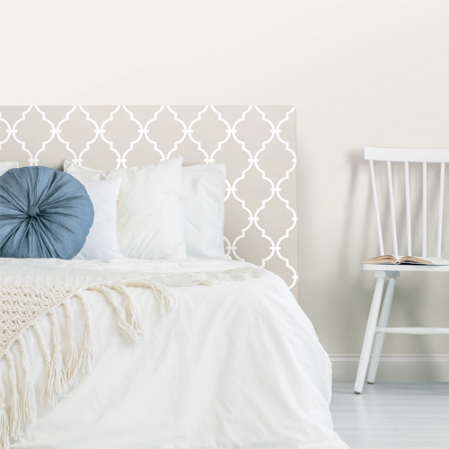 RMK11289WP York Wallcovering Roommates Modern Trellis Peel and Stick Wallpaper Beige Headboard
