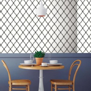 RMK9018WP Modern Trellis Peel and Stick Wallpaper Black Room Setting