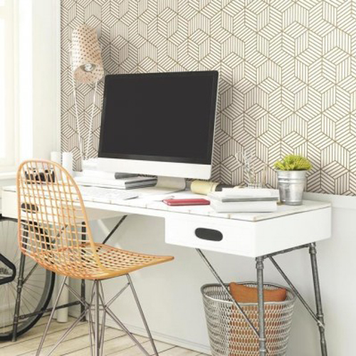 Striped Hexagon Peel and Stick Wallpaper