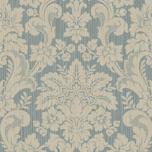 BM60512 Wallquest Wallcovering Balmoral Classical Damask Wallpaper Navy