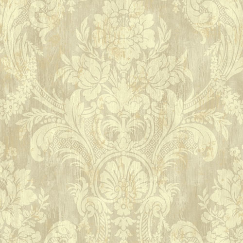 BM60909 Wallquest Wallcovering Balmoral Classical Bouquet Damask Wallpaper Gold and Warm Taupe