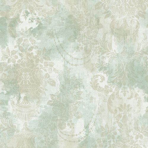 BM61902 Wallquest Wallcovering Balmoral Textured Floral Damask Wallpaper Soft Green