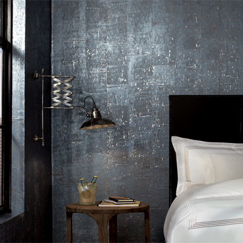 GR1095 York Wallcovering Ronald Redding Industrial Interiors 2 Cork Wallpaper Room Setting