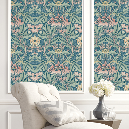 BM60102 Wallquest Wallcovering Balmoral Morris Flower Wallpaper True Blue Room Setting Closeup