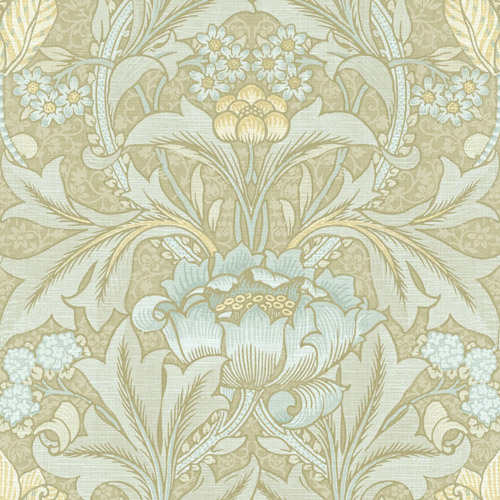BM60103 Wallquest Wallcovering Balmoral Morris Flower Wallpaper Green and Blue
