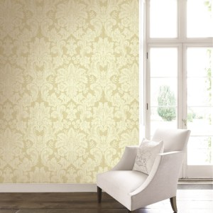 BM60505 Wallquest Wallcovering Balmoral Classical Damask Wallpaper Light Gold Room Setting