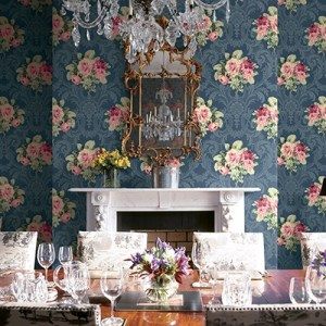 BM61102 Wallquest Wallcovering Balmoral Full Bloom Damask Wallpaper Navy Room Setting