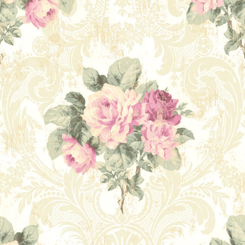 BM61105 Wallquest Wallcovering Balmoral Full Bloom Damask Wallpaper White