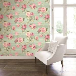 BM61204 Wallquest Wallcovering Balmoral Classical Rose Trail Wallpaper Green Room Setting