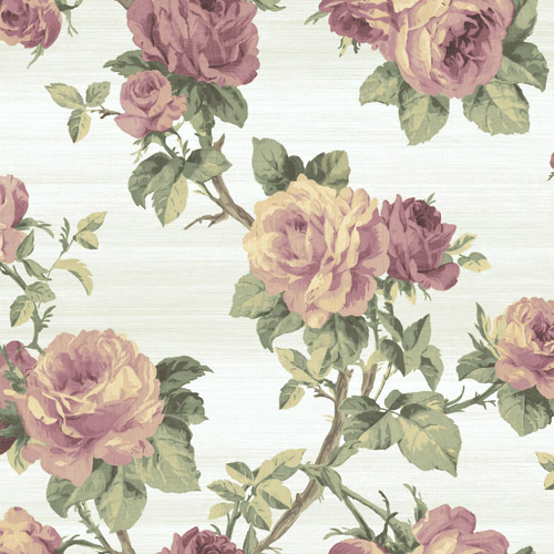 BM61205 Wallquest Wallcovering Balmoral Classical Rose Trail Wallpaper White Purple
