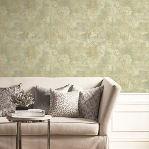 BM61904 Wallquest Wallcovering Balmoral Textured Floral Damask Wallpaper Warm Neutrals Room Setting