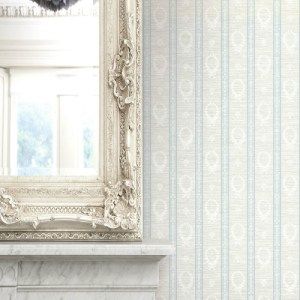 1730902 Seabrook Wallcovering Etten Gallerie Mercury Crest Stripe Wallpaper Blue Room Setting