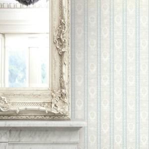 1730902 Seabrook Wallcovering Etten Gallerie Mercury Crest Stripe Wallpaper Blue Room Setting