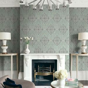 1731304 Seabrook Wallcovering Etten Gallerie Mercy Damask Wallpaper Green Room Setting