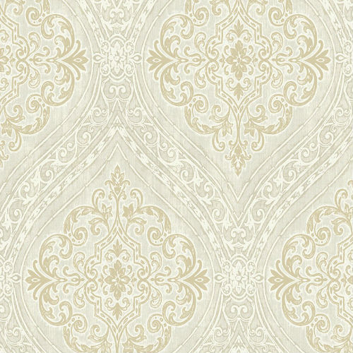 1731307 Seabrook Wallcovering Etten Gallerie Mercy Damask Wallpaper Neutral