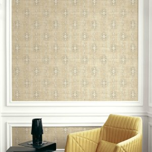 1731405 Seabrook Wallcovering Etten Gallerie Mercury Medallion Striped Wallpaper Tan Room Setting