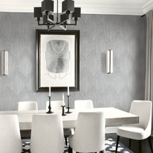 1732108 Seabrook Wallcovering Etten Gallerie Mercury Ogee Frame Wallpaper Grey Room Setting