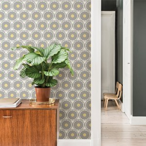 2782-24509 Brewster Wallcovering A Street Prints Habitat Buttercup Flower Wallpaper Grey Room Setting