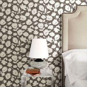 2782-24556 Brewster Wallcovering A Street Prints Habitat Matilda Floral Wallpaper Chocolate Room Setting