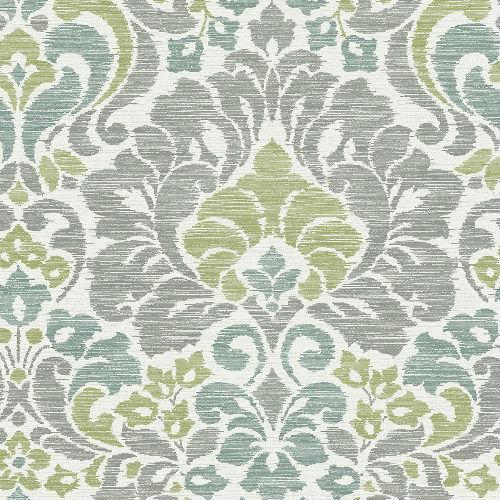 2793-24733 Brewster Wallcovering A Street Prints Celadon Garden of Eden Damask Wallpaper Green