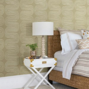 2793-24741 Brewster Wallcovering A Street Prints Celadon Zephyr Abstract Stripe Wallpaper Room Setting