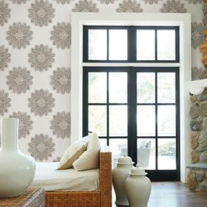 2793-24748 Brewster Wallcovering A Street Prints Celadon Sol Medallion Wallpaper Room Setting