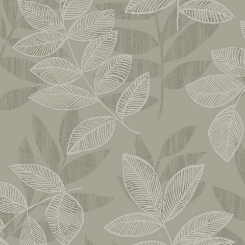 2793-87322 Brewster Wallcovering A Street Prints Celadon Chimera Flocked Leaf Wallpaper Platinum