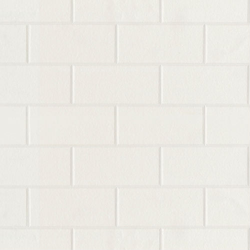 2767-21399 Brewster Wallcovering Techniques and Finishes 3 Galley Subway Tile Wallpaper White Paintable
