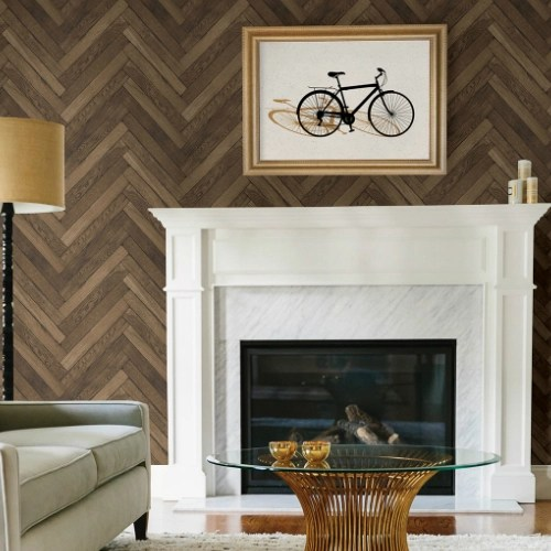 2767-23757 Brewster Wallcovering Techniques and Finishes 3 Altadena Diagonal Wood Wallpaper Room Setting
