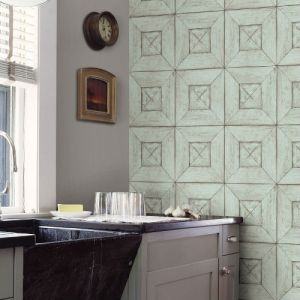 3115-12455 Brewster Wallcovering Chesapeake Farmhouse Verity Wood Wallpaper Room Setting