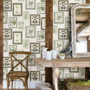3115-12502 Brewster Wallcovering Chesapeake Farmhouse Sibylla Gallery Wallpaper Room Setting
