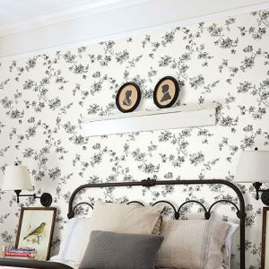 3115-24482 Brewster Wallcovering Chespeake Farmhouse Cyrus Floral Wallpaper Room Setting
