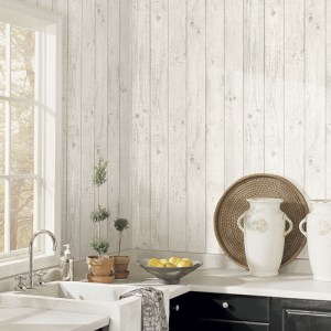 CK36615 Patton Wallcoverings Creative Kitchens Barn Board Wallpaper Room Setting