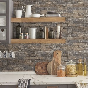 CK36623 Patton Wallcoverings Creative Kitchens Slim Stacked Stone Wallpaper Room Setting