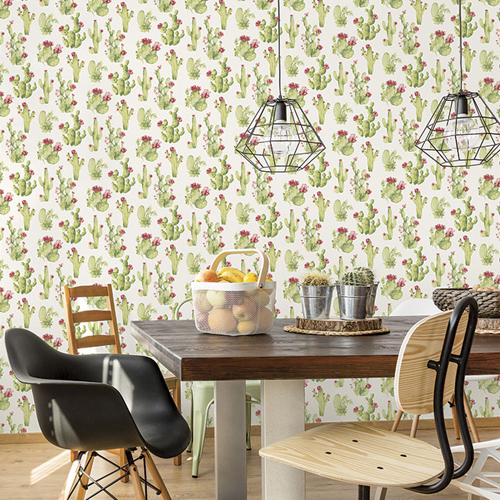 CK36630 Patton Wallcoverings Creative Kitchens Cactus Wallpaper Room Setting