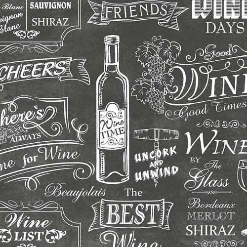 CK36631 Patton Wallcoverings Creative Kitchens Wine Days Wallpaper Black
