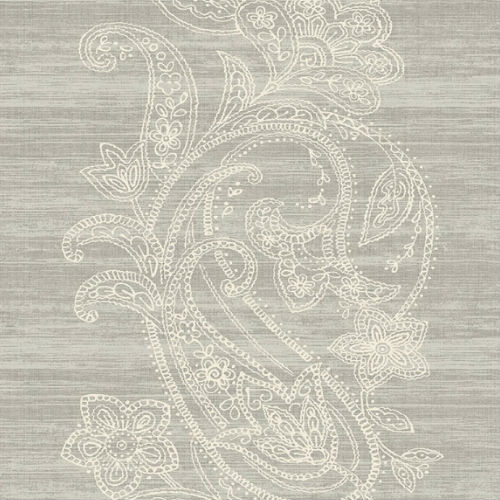 1620410 Seabrook Wallcovering Etten Gallerie Bruxelles Striped Paisley Wallpaper Grey