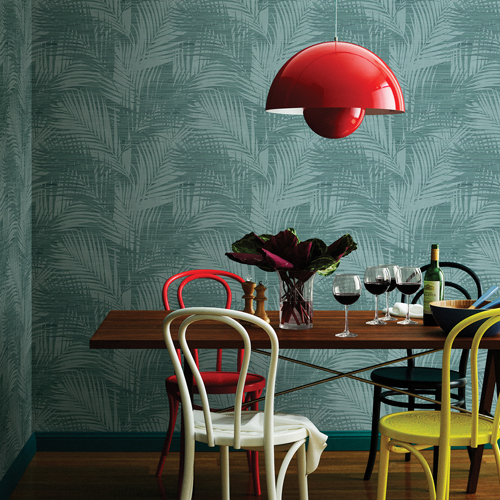 2766-24400 Brewster Wallcovering Kitchen and Bath Essentials Motmot Palm Wallpaper Room Setting