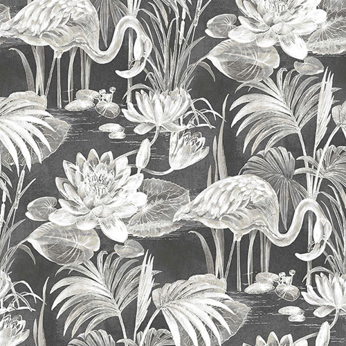 2766-24621 Brewster Wallcovering Kitchen and Bath Essentials Miltonia Flamingo Wallpaper Black