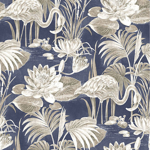 2766-24622 Brewster Wallcovering Kitchen and Bath Essentials Miltonia Flamingo Wallpaper Navy