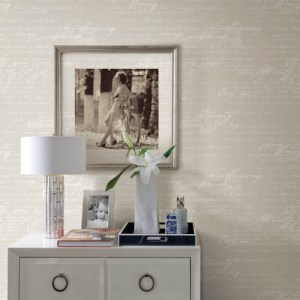 2773-449556 Brewster Wallcovering Advantage Neutral Black White Novel Script Wallpaper Room Setting