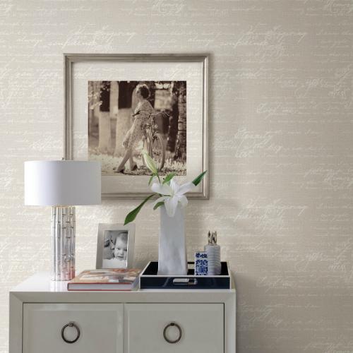 2773-449556 Brewster Wallcovering Advantage Neutral Black White Novel Script Wallpaper Room Setting