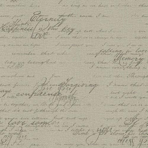 2773-449570 Brewster Wallcovering Advantage Neutral Black White Novel Script Wallpaper Taupe